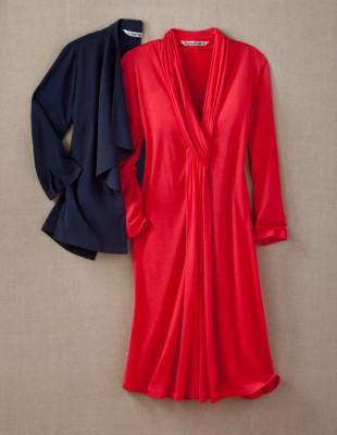 red dress, black jacket