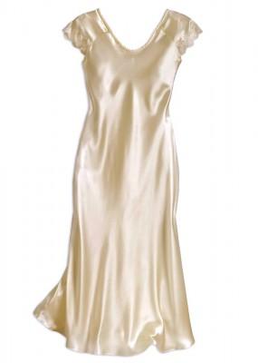 white silk nightgown